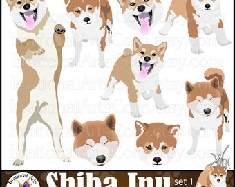 Shiba Inu Dog Graphics set 1 - 8 digital graphics with 5 Shiba Inu dogs and 3 faces {Instant Download}