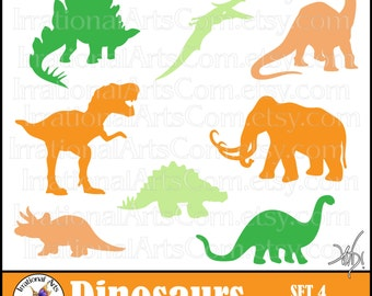 Dinosaur set 4 silhouettes - 8 digital clipart png files - T Rex Woolley Mammoth pterodactyl stegosaurus brontosaurus [INSTANT DOWNLOAD]