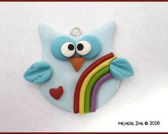 New Polymer Clay Rainbow Owl Charm Pendant