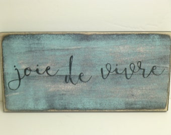 JOIE DE VIVRE sign / Paris sign / hand painted sign / Paris Apartment decor / Paris wall sign / Wood Paris sign / Paris wall decor / joy