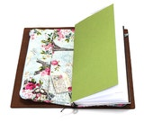 Zippered Insert for Midori Travelers Notebook, Standard Size, Personal Size, Passport Size - Paris and Roses