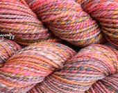 hand-spun striped yarn / 2-ply worsted weight / merino wool / coming up rosy colorway / rose, pink, coral