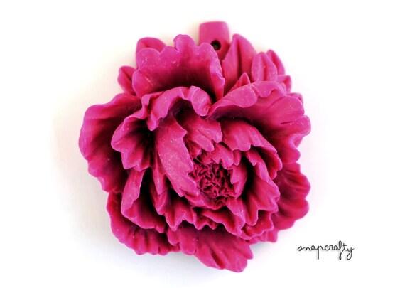 1 pc resin peony pendant / raspberry pink / lush, large flower pendant / drilled flower cabochon pendant
