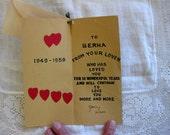 Sweet Vintage Anniversary or Valentine Card, Handmade, 1959, to Berna from Sam
