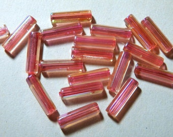 Vintage Dark Pink AB Hexagon Tube 18x5mm Acrylic Beads (24)