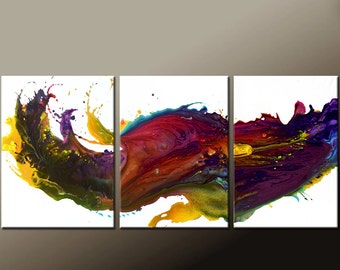 Abstract Canvas Art Painting Huge 3pc 54x24 Original Contemporary Painting by Destiny Womack - dWo -  Waves of Euphoria