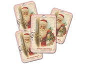 Santa Claus Tags, Set of Four, Santa with Pink Trim, Holiday Gift Hang Tags, Party Favor, Christmas Gift Topper, Stock Stuffer Tag