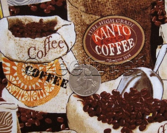 COFFEE Bean BAGS Burlap Quilt Fabric by the Yard, Half Yard, or Fat Quarter Fq Jumping Java Beans Ground Caffe Cafe Brewing Hot