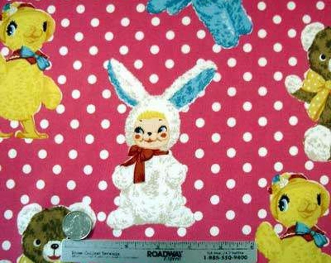 STUFFED ANIMALS Bubblegum Pink Japan Cotton Quilt Fabric - Japanese Import Yellow Chick Bunny Teddy Polka Dot White Funky Aqua Blue Dog Bear