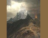 Castle art, Castle painting, Castle fantasy, fantasy art, fantasy painting, castle mountain,