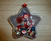 Whimsical Retro Inspired Patriotic 4th of July Large Tart Tin Wall Hanging Little Miss Firecracker