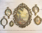 RESERVED for Mahinaz-pls do not purchase-6pc Set of Vintage Ornate Metal Framed Pictures and Mirror- Made in Italy