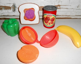 Vintage Fisher Price Toy Food, Fisher Price Fruit, Pretend Play, Toy Kitchen