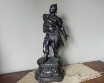 Vintage french bronze large metal military statue sculpture zinc spelter roman soldier