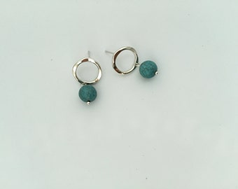 Hammered Silver Post Ring with Turquoise Bead