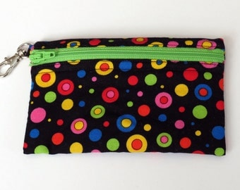 Multi Dots with Lime Zipper - Clip Coin Purse with Zipper Front