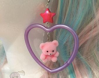 Fairy Kei Flocked Pink Teddy Bear Heart Earrings