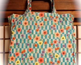 Japanese Tote Bag, Yagasuri Arrows and Sakura Blossoms TIGHT 'N' TIDY Tote Bag, Reusable Folding Shopping Bag, Blue White Pink Yellow Green