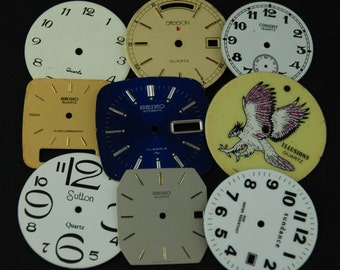 Vintage Antique Art Deco Watch Dials Steampunk  Faces Parts Altered Art Industrial O 27