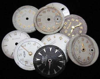 Vintage Antique Watch Dials Steampunk  Faces Parts Altered Art Industrial H 14