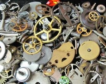 1 oz 28 grams Vintage Watch movements parts cogs gears Steampunk Z 70