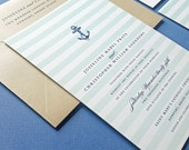 Josseline Nautical Wedding Invitation Sample - Aqua Mint Ombre Stripes, Navy Anchor, Metallic Sand Envelope