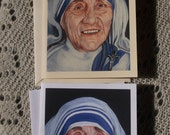Blessed Mother Theresa of Calcutta Stationary Cards with Envelopes on White and Ivory Card Stock taken from my Original Arcylic Painting