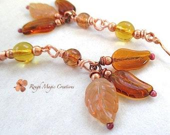 Extra Long Earrings Autumn Leaves Fall Jewelry Copper Earrings Amber Topaz Glass Drops Cluster Earrings Chandelier Earrings Shoulder Dusters