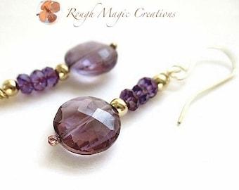 Purple Amethyst Earrings. Gemstone Jewelry. Gold Filled Earrings. February Birthstone. High Fashion Luxe Jewelry for Women