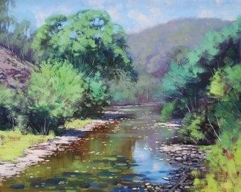 ORIGINAL OIL PAINTING Summer River Landscape fine art by G.Gercken
