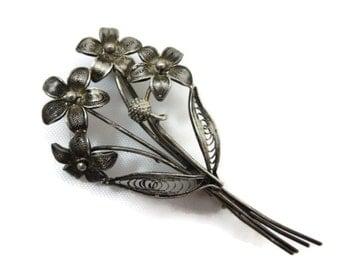 Vintage Silver Filigree Flower Brooch - 800 silver, Bouquet