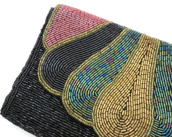 Black Beaded Purse -Tube and Seed Beads, Black Gold Red Green, Shoulder or Clutch Bag
