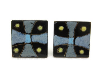Enamel on Copper Earrings - Maltese Cross, Screw Back Earrings, Square, Mid Century Modern