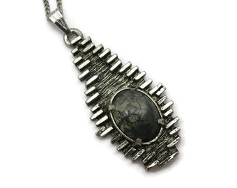 Brutalist Jewelry - Modernist Moss Agate Pendant, Pewter,