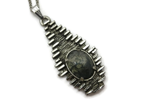 Brutalist Jewelry Modernist Moss Agate Pendant by ...