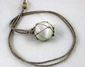 Selenite Crystal Ball Hemp Wrapped Healing Necklace - sphere size 31.5 mm