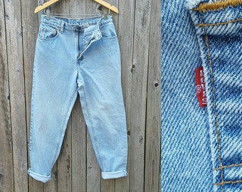 """Vintage Levi's Jeans  //  Vtg 90s Made in the USA Levis 551 High Waist Relaxed Fit Tapered Leg Distressed Faded Indigo Denim  //  31"""" waist"""