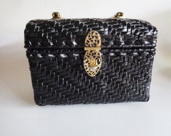 Vintage Marcus Brother made in British Crown Colony of Hong Kong black woven vinyl wicker box bag with metal handles
