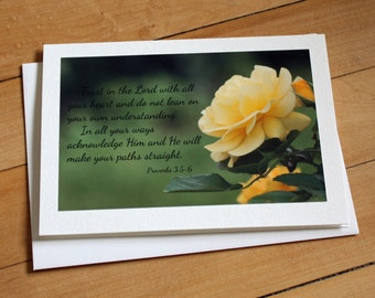 Bible Verse Greeting Card, Blank Greeting Card, Note Card, Any Occasion, Scripture, Girl, Envelope, Photography, Flower, Proverbs 3: 5-6