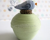 Paper Quilled Bird in Nest Jewelry, Trinket Box, READY TO SHIP