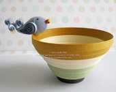 Paper Quilled Striped Bowl with Bird, READY TO SHIP