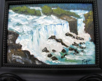 Niagara Falls Original 10 x 8 Framed Oil on Canvas Board, Small Oil Painting, Impressionistic Painting on Etsy