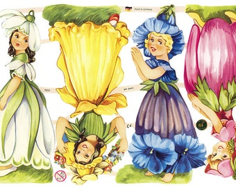Germany Paper Scraps Lithographed Die Cut Victorian Flower Girls  7310