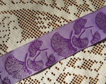 3 Yards Ginkgo Leaf Reversible Trim Jacquard Ribbon 1 Inch Wide Lavender And Purple