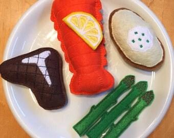 Felt Food Steak and Lobster Surf and Turf Dinner Set You Choose Options