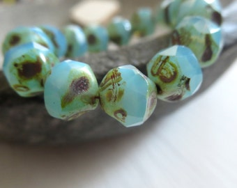 blue czech glass beads, central cut , baroque faceted bicone nugget shape, aqua with picasso finish  8mm / 15 beads  6AZ0009