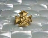 1pc Cross Charm Pendant Maltese Cross Matte Gold Brass Medium Charm Ornate Religious Jewelry Jewellery Craft Supplies