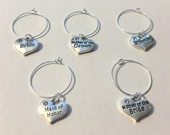 Bride, Maid Of Honor, Bridesmaid, Mother Of The Bride, Mother Of The Groom, Heart Charm, Wine Glass Hoop Charms, Set of 5 Bridal Shower Gift