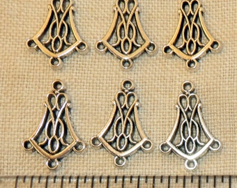 20 Med. Size Antiqued Silver Chandelier Earring Findings Dangle Connector 3 Hole