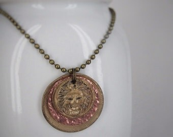 Lion Head Steampunk Mixed Metal Necklace, Smashed Buttons and Other Findings UD2